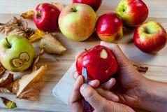 Fabrication des monstres rampants et drôles des pommes Image libre de droits