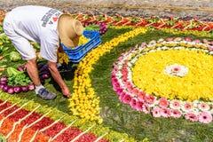 Fabrication du tapis prêté, l'Antigua, Guatemala Photographie stock libre de droits