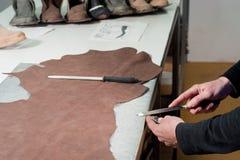 Fabrication en cuir photographie stock