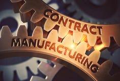 Fabrication sous contrat sur les roues dentées d'or illustration 3D illustration de vecteur