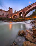 Fabricius Bridge and Tiber Island in the Evening, Rome, Italy stock image