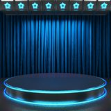 Fabrick curtain on stage neon Stock Photos
