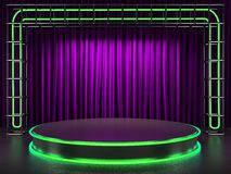 Fabrick curtain on stage with neon Royalty Free Stock Photo