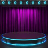 Fabrick curtain on stage with neon Stock Photo