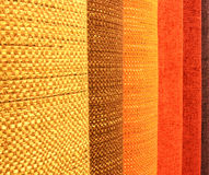 Fabrics. Different colours upholstery fabrics line royalty free stock photography