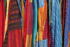 Fabrics. At market in the Provence France stock photography