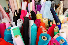 Fabrics. Assortment of cloth Royalty Free Stock Photos