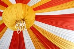 Fabrics decoration. Beautiful fabrics decoration with light on the ceiling Stock Photo