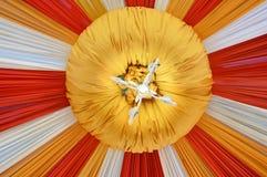 Fabrics decoration. Beautiful fabrics decoration with light on the ceiling Royalty Free Stock Photography