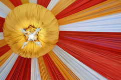 Fabrics decoration. Beautiful fabrics decoration with light on the ceiling Royalty Free Stock Images