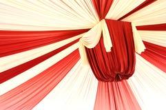 Fabrics decoration. Beautiful red and white fabrics decoration Stock Image