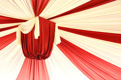 Fabrics decoration. Beautiful red and white fabrics decoration Stock Photos