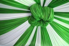 Fabrics decoration. Beautiful white and green fabrics decoration Stock Photo
