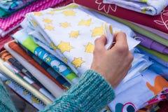 Fabrics on a market Royalty Free Stock Photo