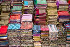 Fabrics on the market in Fes, Morocco Stock Photo