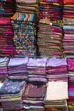 Fabrics on the market in Fes, Morocco Royalty Free Stock Images