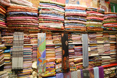Fabrics on the market. Fabrics in Muttrah souq, Muscat , Oman royalty free stock photography