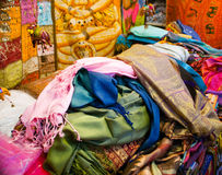 Fabrics in a market. A pile of fabrics for sale at a market.7 Royalty Free Stock Photography