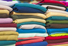 Fabrics at a market stall Royalty Free Stock Photography