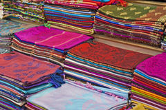 Fabrics at a market stall Stock Photography