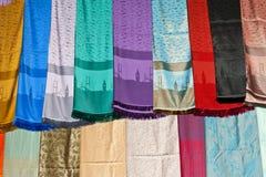 Fabrics at a market stall Royalty Free Stock Photography