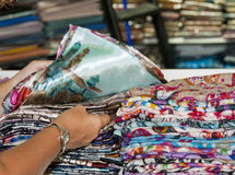Fabrics at a market stall Stock Photos