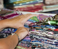 Fabrics at a market stall Royalty Free Stock Photo
