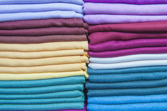 Fabrics at a market stall Stock Images