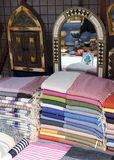 Fabrics and mirrors at market Stock Photography