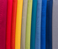 Fabrics of multi colors samples Stock Photography