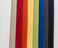 Fabrics of multi colors samples Royalty Free Stock Photos