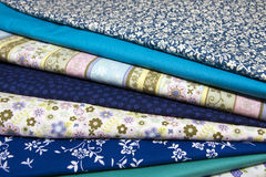 Fabrics for quilting. Pile of blue cotton fabrics for quilting Stock Image