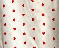 Fabrics with red heart shape Stock Photography