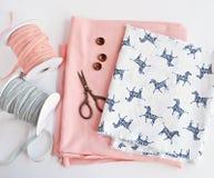 Fabrics and ribbons stock photos