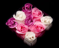 Fabrics rose in transparent box Royalty Free Stock Photo