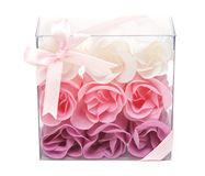 Fabrics rose in transparent gift to box Royalty Free Stock Images