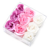 Fabrics rose in transparent gift to box Stock Image