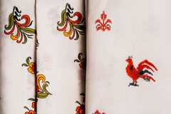Fabrics with Russian patterns are exactly next. To the empty space Royalty Free Stock Image