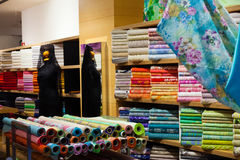 Fabrics for sale. In fabric store Stock Image