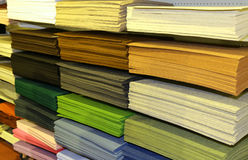 Fabrics for sale at the fair for decoration and leisure hobbies. Shelf full of fabrics for sale at the fair for decoration and leisure hobbies Royalty Free Stock Photo