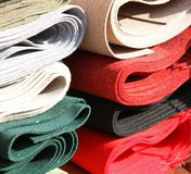 Fabrics for sale in haberdashery Stock Photography