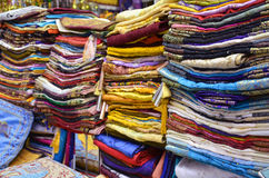 Fabrics and scarves. At old souk in Dubai Stock Image