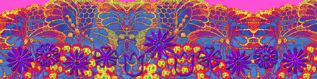 Fabrics and flowers. Banner of flower shapes. Can be used as a background too Stock Images