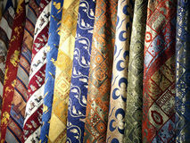 Fabrics in Turkish market Royalty Free Stock Images