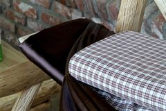 Fabrics and Wood. Textiles and wood are readied for the interior designer Stock Images