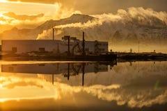 Fabriek bij zonsondergang royalty-vrije stock fotografie