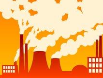 Fabriek die uit verontreiniging uitspuwt Stock Afbeelding