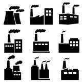 Fabriek, elektrische centrale industriële pictogrammen Royalty-vrije Stock Afbeeldingen