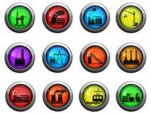 Fabriek en de Industrie geplaatste pictogrammen Stock Foto