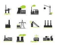 Fabriek en de Industriesymbolen Stock Fotografie
